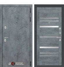 Дверь Бетон 20 - Бетон темный, зеркальные вставки