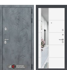 Дверь Бетон с зеркалом 19 - Белый софт