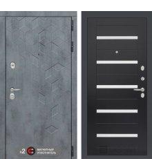 Дверь Бетон 01 - Венге, стекло белое