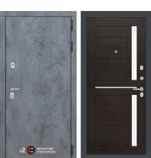 Дверь Бетон 02 - Венге, стекло белое
