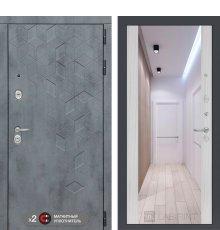 Дверь Бетон с зеркалом Максимум - Сандал белый