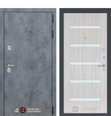 Дверь Бетон 01 - Сандал белый, стекло белое