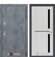 Дверь Бетон 02 - Сандал белый, стекло черное