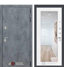Дверь Бетон с зеркалом 18 - Белое дерево
