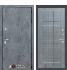 Дверь Бетон 09 - Лен сильвер грей