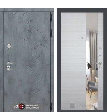 Дверь Бетон с узким зеркалом - Акация светлая горизонтальная