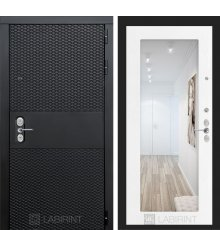 Дверь   BLACK с зеркалом 18 - Белое дерево