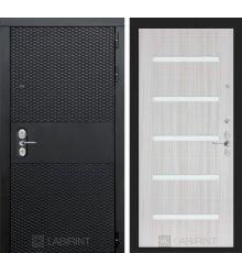 Дверь BLACK 01 - Сандал белый, стекло белое