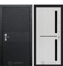 Дверь BLACK 02 - Сандал белый, стекло черное
