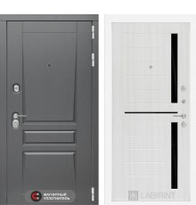 Дверь Лабиринт  Платинум 02 - Сандал белый, стекло черное
