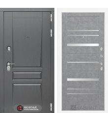 Дверь Лабиринт   Платинум 20 - Бетон светлый, зеркальные вставки