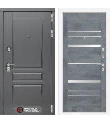 Дверь Лабиринт  Платинум 20 - Бетон темный, зеркальные вставки