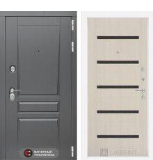 Дверь Лабиринт  Платинум 01 - Беленый дуб, стекло черное
