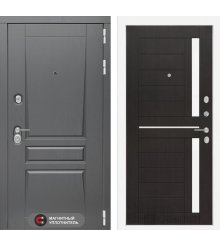 Дверь Лабиринт  Платинум 02 - Венге, стекло белое