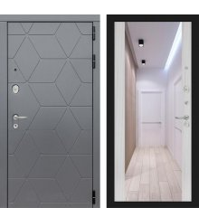 Дверь Лабиринт COSMO с зеркалом Максимум - Сандал белый