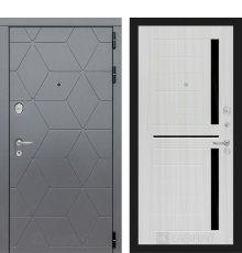 Дверь Лабиринт COSMO 02 - Сандал белый, стекло черное