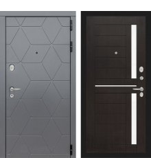 Дверь Лабиринт COSMO 02 - Венге, стекло белое