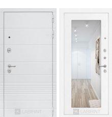 Дверь Лабиринт Трендо с Зеркалом 18 - Белое дерево