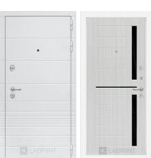 Дверь Лабиринт Трендо 02 - Сандал белый, стекло черное