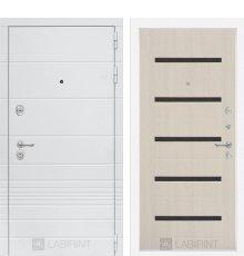 Дверь Лабиринт Трендо 01 - Беленый дуб, стекло черное