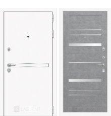 Дверь Лабиринт Лайн WHITE 20 - Бетон светлый, зеркальные вставки фото