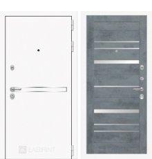 Дверь Лабиринт  Лайн WHITE 20 - Бетон темный, зеркальные вставки фото