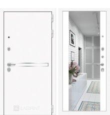 Дверь Лабиринт  Лайн WHITE с широким зеркалом - Белый soft
