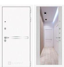 Дверь Лабиринт  Лайн WHITE с широким зеркалом - Сандал белый