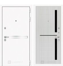 Дверь Лабиринт Лайн WHITE 02 - Сандал белый, стекло черное фото