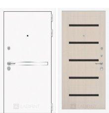 Дверь Лабиринт  Лайн WHITE 01 - Беленый дуб, стекло черное
