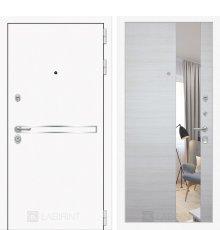 Дверь Лабиринт Лайн WHITE с Зеркалом - Акация светлая горизонтальная