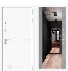 Дверь Лабиринт Лайн WHITE с широким зеркалом - Бетон светлый