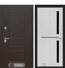 Дверь Лабиринт Мегаполис 02 - Сандал белый, стекло черное