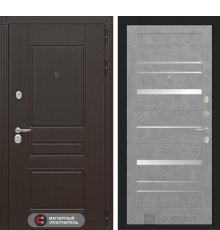Дверь Лабиринт  Мегаполис 20 - Бетон светлый, зеркальные вставки