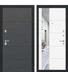 Дверь Лабиринт ART графит с Зеркалом 19 - Белый софт