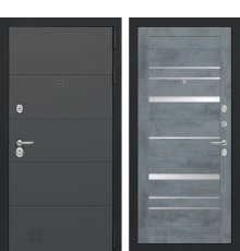 Дверь Лабиринт ART 20 - Бетон темный, зеркальные вставки