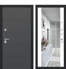 Дверь Лабиринт ART графит с Зеркалом Максимум - Белый софт