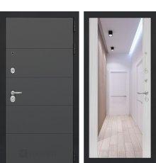 Дверь Лабиринт ART графит с Зеркалом Максимум - Сандал белый