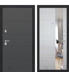 Дверь Лабиринт ART графит с Зеркалом - Акация светлая горизонтальная