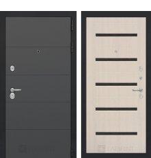 Дверь Лабиринт ART графит 01 - Беленый дуб, стекло черное