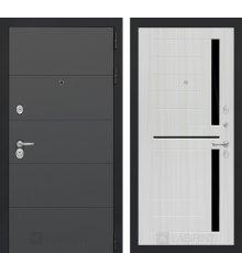 Дверь Лабиринт  ART графит 02 - Сандал белый, стекло черное