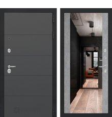 Дверь Лабиринт ART графит с Зеркалом Максимум - Бетон светлый