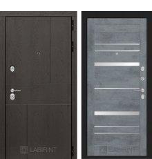 Дверь Лабиринт URBAN 20 - Бетон темный, зеркальные вставки