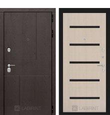 Дверь Лабиринт URBAN 01 - Беленый дуб, стекло черное