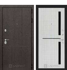 Дверь Лабиринт URBAN 02 - Сандал белый, стекло черное
