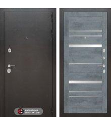 Дверь Лабиринт SILVER 20 - Бетон темный, зеркальные вставки