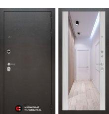 Дверь Лабиринт SILVER с Зеркалом Максимум - Сандал белый