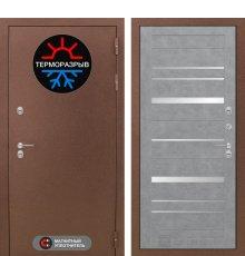 Дверь Лабиринт Термо Магнит 20 - Бетон светлый, зеркальные вставки