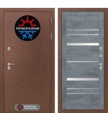Дверь Лабиринт Термо Магнит 20 - Бетон темный, зеркальные вставки