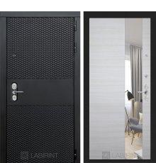 Дверь Лабиринт BLACK зеркало - Акация светлая горизонтальная